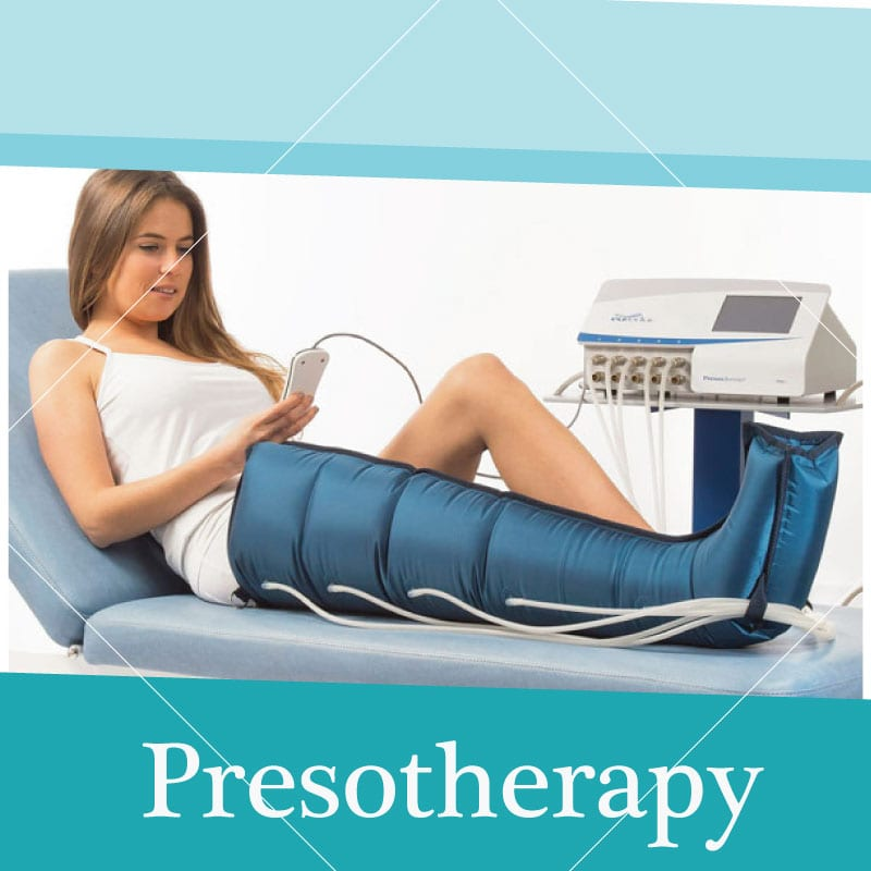 presotherapy treatment in woman leg